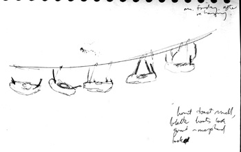drawing of suspended boats