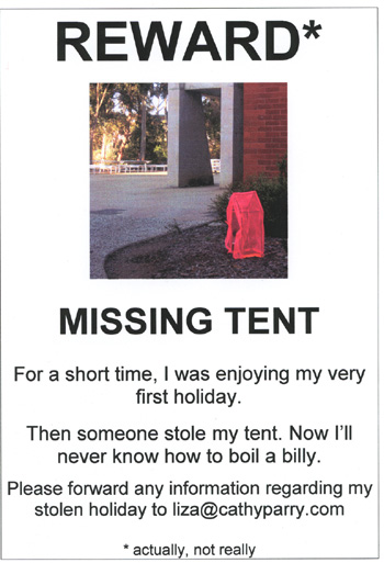 reward for stolen tent sign